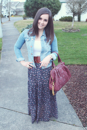maxi thrifted skirt - jean H&M jacket - thrifted purse - f21 belt