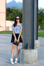 Blue-off-shoulder-zara-top-black-neoprene-pull-bear-skirt