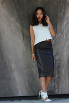 white leather Zara top - dark brown leather skirts Zara skirt