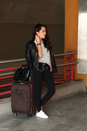 black Zara jacket - dark brown calvin klein bag - white pull&bear top