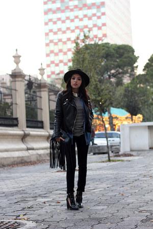 black Zara boots - black fedora H&M hat - black faux leather Zara jacket