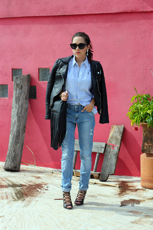 black Zara jacket - sky blue pull&bear jeans - black H&M bag