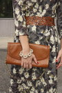 Floral-print-h-m-dress-brown-dkny-purse-beige-cutout-zara-heels