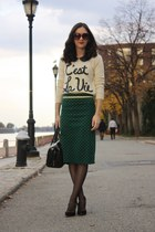Forever 21 sweater - kate spade purse - Topshop skirt - Forever 21 top