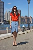 bubbles H&M skirt - Zara heels - black and white Forever 21 belt
