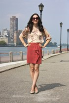 Zara top - H&M skirt - beige Dorothy Perkins heels