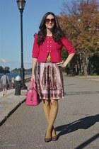 Anthropologie skirt - ann taylor blazer - Forever 21 tights - BCBG purse
