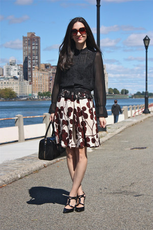 berry print Anthropologie skirt - kate spade purse - dsw Tahari heels