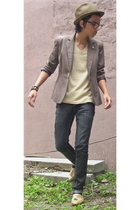hat - glasses - blazer - shirt - jeans - shoes