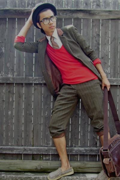 hat - shirt - tie - sweater - blazer - shoes