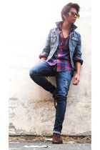 blue Old Navy jacket - red Penguin Classicsuin shirt - blue Levis jeans - brown