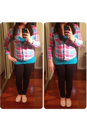 plaid abercrombie and fitch shirt - blue Forever21 top