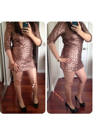 bronze Forever21 dress - black Steve Madden heels