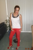 red Hearsay heels - red garage pants - cream Charlotte Russe blouse