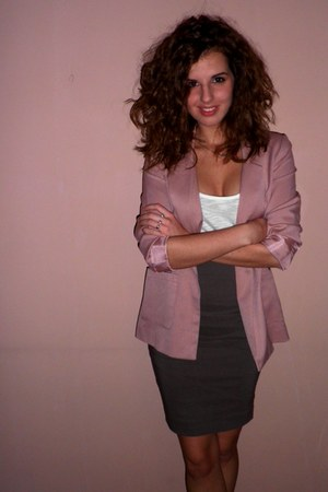 light pink H&M blazer - white Tally Weijl shirt - light brown Orsay skirt