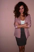 light pink H&M blazer - white Tally Weijl shirt - light brown Orsay skirt