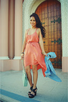 salmon Audrey 31 dress - sky blue Rubbish top - black Forever 21 heels