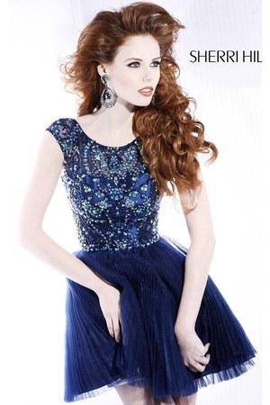 navy Sherri Hill 2814 dress