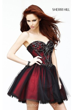 brick red Sherri Hill 21156 dress - hot pink Sherri Hill 21156 dress