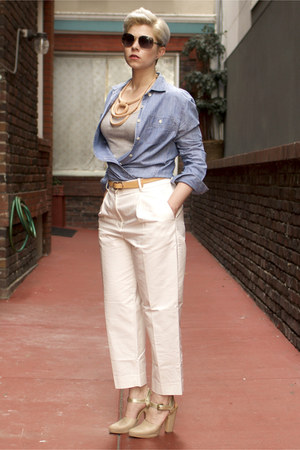 tan Crescioni necklace - beige Rachel Comey shoes - light blue JCrew shirt