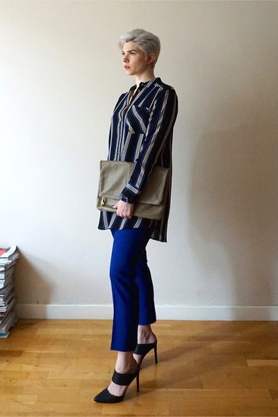 navy Topshop shirt - tan leather clutch Marc by Marc Jacobs bag