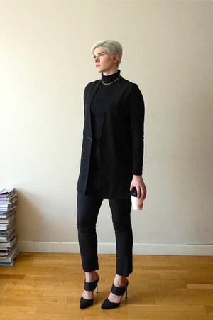 black turtleneck mini American Apparel dress - black suiting Helmut Lang vest