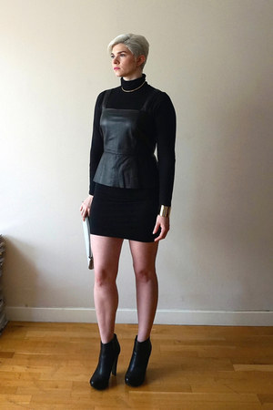 black calvin klein boots - black turtleneck mini American Apparel dress