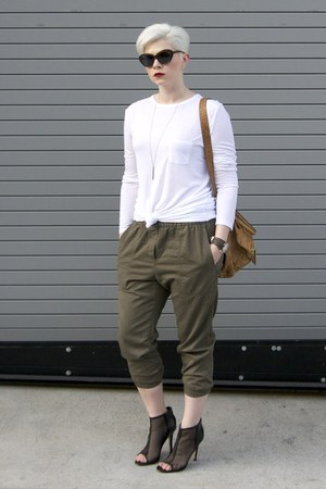 olive green twill jogger Gap pants - black mesh peep toe Renvy boots