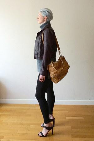 crimson oxblood leather Theory jacket - silver everlane sweater