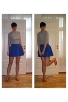blue GINA TRICOT skirt - orange DinSko shoes - gray h&m divided top