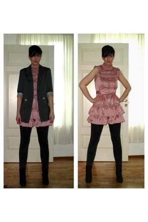 blazer - dress - leggings - boots
