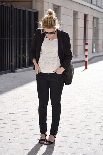 Mango sandals - H&M jeans - River Island blazer - vintage bag