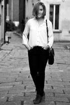 vintage blouse - black H&M jeans
