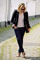 vintage jumper - vintage shoes - H&M jeans - Zara blazer - vintage bag