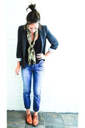 gray Sportsgirl blazer - gold Sportsgirl scarf - black Sportsgirl top - blue Spo