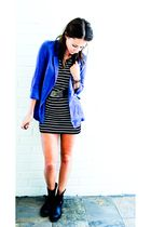 blue Mink Pink blazer - black vintage belt - gray Sportsgirl dress - black Sport