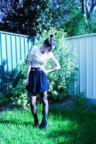 white portmans top - black Mink Pink skirt - gold Sportsgirl belt - black Sports