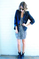 blue vintage blazer - black Sportsgirl dress - black Sportsgirl boots - gold vin