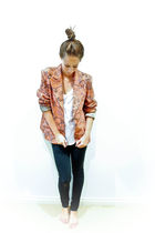orange vintage blazer - white Sportsgirl top - black Valley Girl jeans