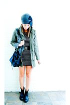 green Just jeans jacket - gray Sportsgirl dress - black vintage belt - black vin