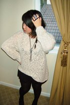 beige thrift knitted mesh sweater - black ruffle bloomer shorts - black and brow