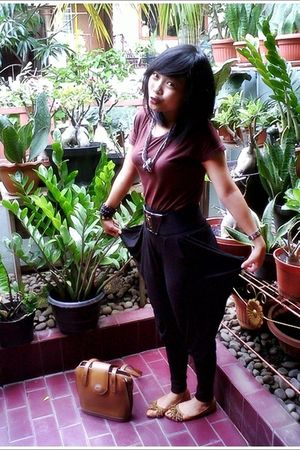 black pants - brown top - brown accessories - brown shoes - silver necklace - bl