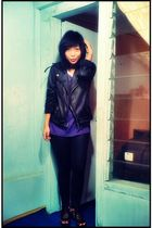 purple Top Man shirt - black leggings - black unbranded jacket - black shoes