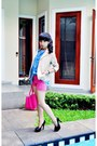 Hot-pink-tan-bag-camel-cotton-blazer-hot-pink-cotton-pants-black-tan-heels
