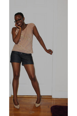 light pink Aldo shoes - peach Lux shirt - navy front pleaded Mossimo shorts