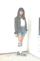 black Vans shoes - amethyst Bershka jacket - blue DIY shorts shorts
