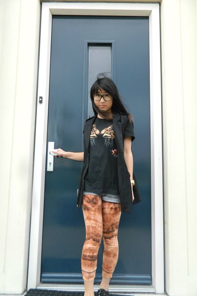 carrot orange DIY leggings - black H&M jacket - charcoal gray H&M shorts