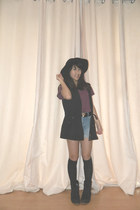 H&M hat - H&M jacket - H&M shirt - Monki shorts - Action stockings - belt