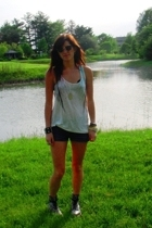 white tank top Forever 21 shirt - black floral doc martens boots