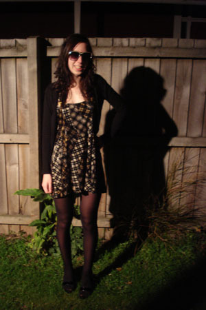 Glassons sweater - vintage dress - cotton on sunglasses - Luichiny shoes